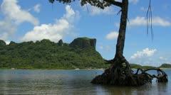Stunning view of Sokeh's Rock on Pohnpei Stock Footage