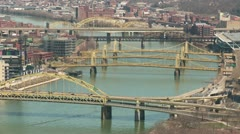 Pittsburgh Allegheny River Bridges 2 Stock Footage