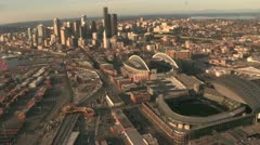 Downtown Seattle With Aerial View of Stadiums and Waterfront Stock Footage