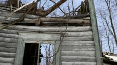 Loop: Abandoned 1910 rural homestead - house and trees - stock footage