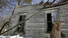 Abandoned 1910 rural homestead - house and trees Stock Footage