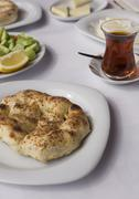 Close up to classic turkish style breakfast food plates Stock Photos