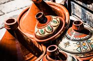 Stock Photo of selection of very colorful moroccan tajines (traditional casserole dishes)