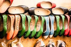 Multicoloured moroccan slippers, marrakesh Stock Photos