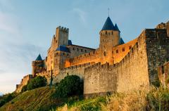 Stock Photo of medieval town of carcassonne at sunset
