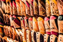 multicoloured moroccan slippers, marrakesh - stock photo