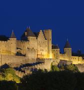 Medieval town of carcassonne at night Stock Photos