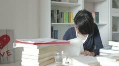 Girl preparing her exams Stock Footage