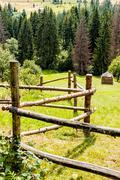 the zig-zag fence - stock photo