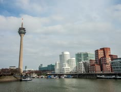 4k Timelapse of Rhine Tower(Rheinturm) and Media Harbor(Mediahafen) in Düsseldor Stock Footage