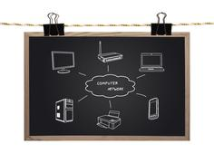 Blackboard with computer network Stock Illustration