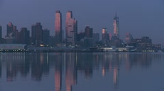New York City Hudson River Morning Twilight 6 Stock Footage
