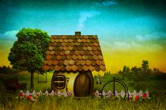 Grungy fantasy landscape with vintage cardboard texture added Stock Illustration