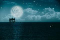 midnight on the sea, environmental backgrounds - stock illustration