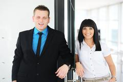 business people having activities in office - stock photo