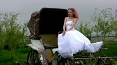 Bride and coach Stock Footage