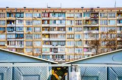 Soviet residential building Stock Photos