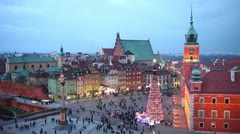 Old Town of Warsaw in Poland Stock Footage