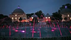 Fountain in Sultan Ahmet Park at Night Stock Footage