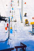 The lift at the ski slope. - stock photo