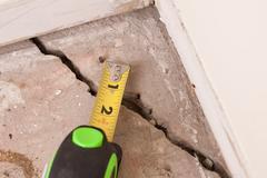 Concrete crack in foundation Stock Photos