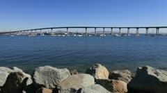 Time Lapse / Pan of Coronado Bridge San Diego -  4K - 4096x2304 Stock Footage