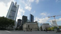 Frankfurt Square and Cityscape Stock Footage