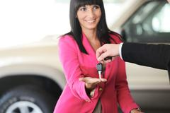 Man handing woman automobile keys for the new car Stock Photos
