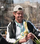 Working homeless man Stock Photos