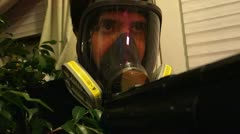 Prepper gas mask gun Stock Footage