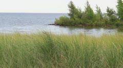 Lake Michigan Coastline Park Stock Footage