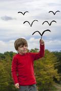 Kid painting birds Stock Photos