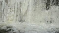 river waterfall water flow frozen ice bubble splash murmur - stock footage