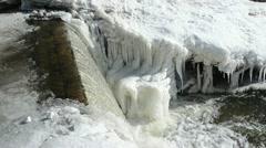 Corner river water cascade fall down splash bubble ice frozen Stock Footage
