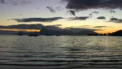 Moorea at sunset, viewed from Tahiti Stock Footage