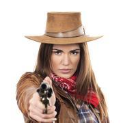 Stock Photo of beautiful cowgirl with gun