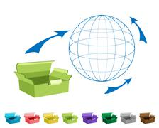 Open and Empty Cardboard Boxes for Freight Transportation - stock illustration