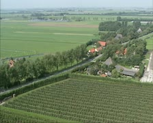 Aerial shot Farmsteads and agriculture in Dutch polder Stock Footage