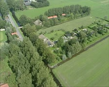 Aerial shot Dome-shaped farm in Dutch polder 01 Stock Footage