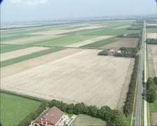 Aerial shot Wieringmeer, a Dutch polder 01 Stock Footage