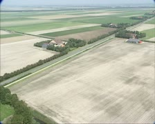 Aerial shot Agricultural land in Wieringermeer, a Dutch polder Stock Footage