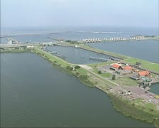 Aerial shot Stevin lock at west side of Afsluitdijk (enclosure dam) Stock Footage