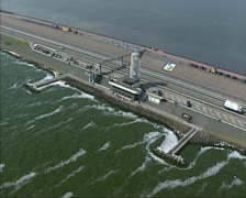 Aerial view Dutch Enclosure Dam, Afsluitdijk, Dudok monument Stock Footage