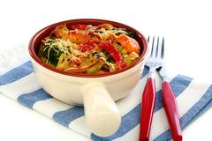 Casserole of pasta, vegetables and cheese. Stock Photos