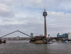 4k Timelapse of Rhine Tower(Rheinturm) Dusseldorf, Germany Stock Footage