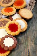cookies with chocolate and jelly filling. - stock photo