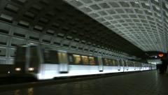 DC Metro train arrives station Stock Footage