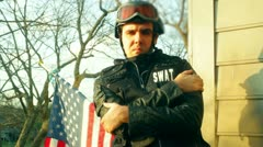 American swat guy police Stock Footage