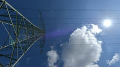 4k UHD electricity pylon wide time lapse 10881 Stock Footage