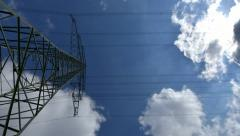 4k UHD electricity pylon time lapse zoom 10883 Stock Footage